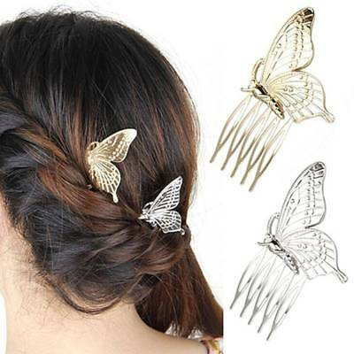 Women Girls Alloy Butterfly Hair Comb Headwear