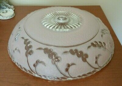 Vintage Large Frosted Pink Glass Light Shade