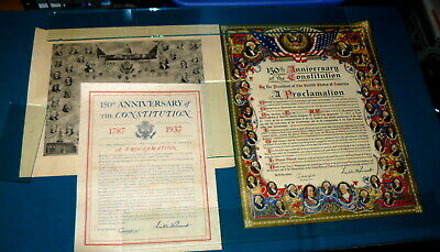 Lot of 3 : 150th ANNIVERSARY of U.S. CONSTITUTION Proclamation POSTER circa 1937