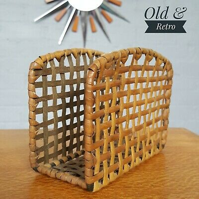 Vintage wicker rattan bamboo letter rack desk tidy retro mid century