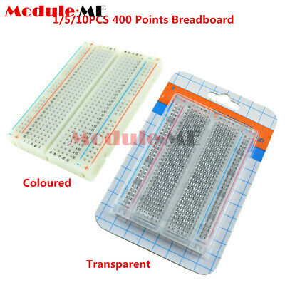 1/5/10PCS Clear Coloured Solderless Breadboard 400 Points Tie-points Contacts