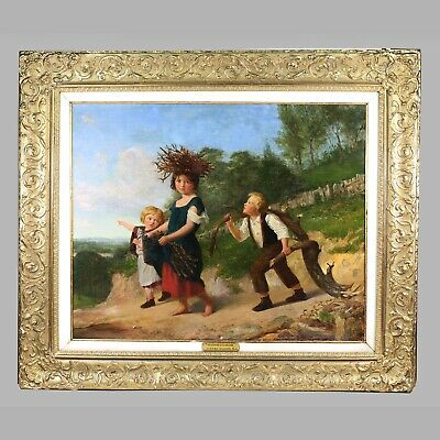 British Henry Woods R.A. 1846-1921 Wood Pickers painting oil canvas sign artist
