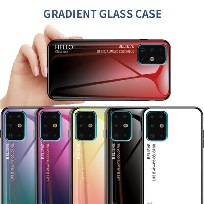 For Samsung Galaxy A70 A10 A20/30 Gradient Tempered Glass Hard Back Case Cover