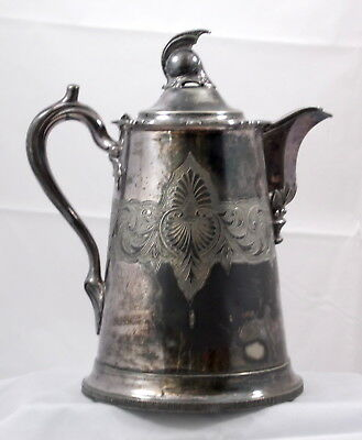 Antique Silver Plate Tankard Pitcher Centurion Finial F. D. Hall Filley and Sons