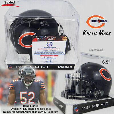 100% authentic 2a0ff 0b3e5 KHALIL MACK AUTOGRAPHED Chicago Bears Riddell Mini Helmet Hand Signed w/GA  COA