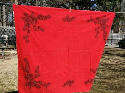 Vintage Red California Hand Prints Tablecloth Pinecones Snowflakes