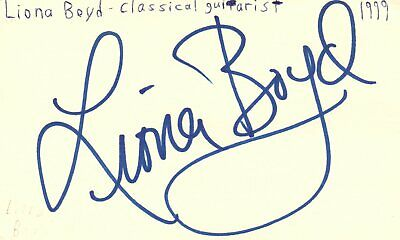 Liona Boyd Classical Guitarist Music Autographed Signed Index Card