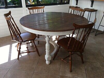Solid Wood Vintage Antique Shabby Chic Farmhouse 5 Piece Dining Table Set