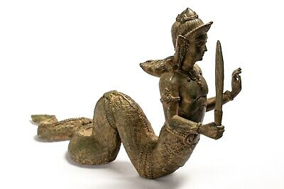 Antique Thai Style Bronze Female Deity with Naga Tail Statue - 22cm/9""