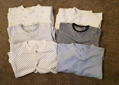 6x NEXT & MOTHERCARE BOYS FIRST SIZE/NEWBORN SLEEPSUITS/BABYGROWS GOOD CONDITION