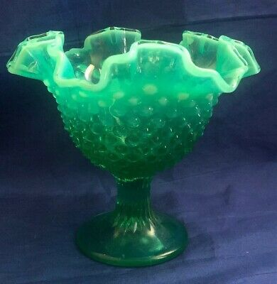Vintage MCM Fenton Hobnail Compote Candy Dish Green Ombré Opalescent Glass