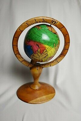 Vintage Wooden Handmade World Globe Atlas French Labeling Unique Piece
