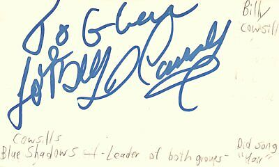 Billy Cowsill Singer Leader Cowsills Blue Shadows Autographed Signed Index Card
