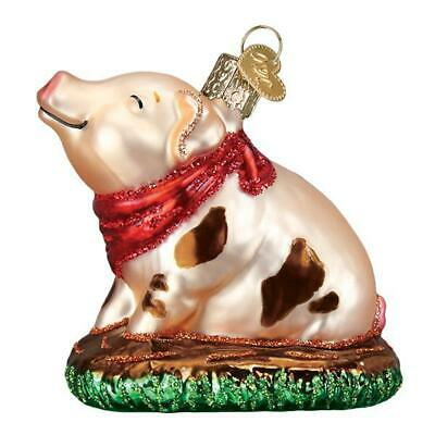"""""""Piggy in the Puddle"""" (12535)X Old World Christmas Glass Ornament w/ OWC Box"""