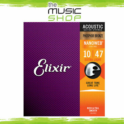 12x Elixir Nanoweb 10-47 Phosphor Bronze Acoustic Guitar Strings -16002 Bulk Box