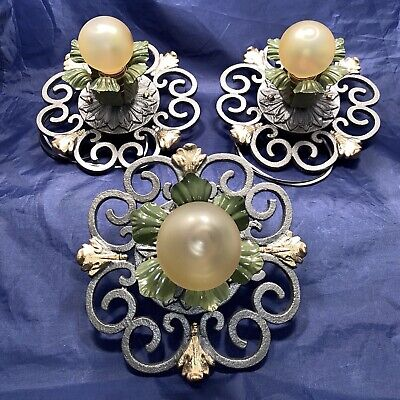 "8"" Wide Set of three 3 Heavy antique flush mount fixtures Newly Wired 79E"