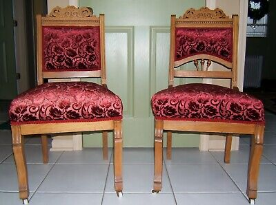 Pair of Oak Victorian Eastlake style chairs Northeast Illinois location