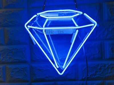 "New Diamond Neon Light Sign 14"" Lamp Beer Pub Acrylic Real Glass Gift"