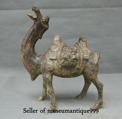 """12.4"""" Old Chinese Bronze Ware Dynasty Animal camel llama Statue Sculpture"""