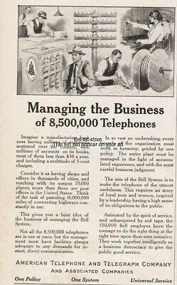1915 American Telephone Telegraph AT&T Bell Sys Switchboard Operator Lineman Ad