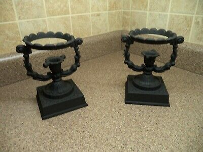 Antique Pair of cast iron Ornate Candle holders ~ Gothic Style