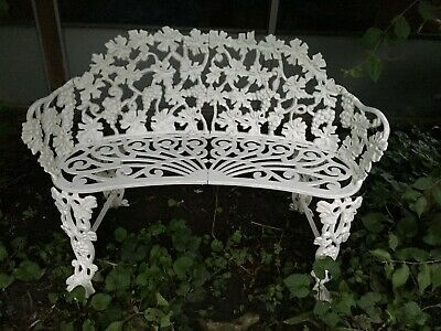 Vintage Antique Cast Iron Metal Victorian Style Garden Bench Loveseat 1940's