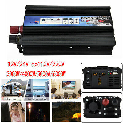 3000/4000/5000W Car Solar Power Inverter DC12/24V To AC110V/220V Wave Converter