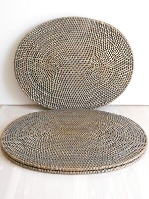 Balinese Oval Grey Washed Rattan Set of 4 Placemats