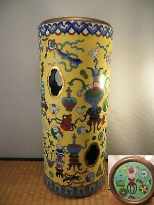 Antique Chinese Cloisonne Hat Stand Vase Precious Objects Design China 11 7/8""