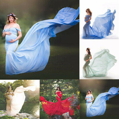 Pregnant Womens Ruffle Maternity Dress Ball Gown Off Shoulder Photography Photo
