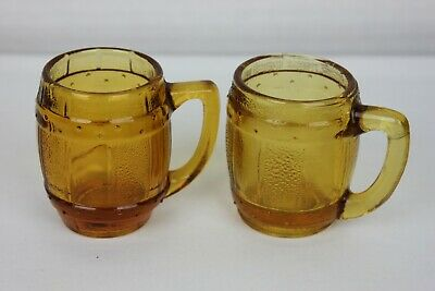 Vintage Amber Clear Mini Mugs Shot Glass Beer Barrel Toothpick Holder Set of 2