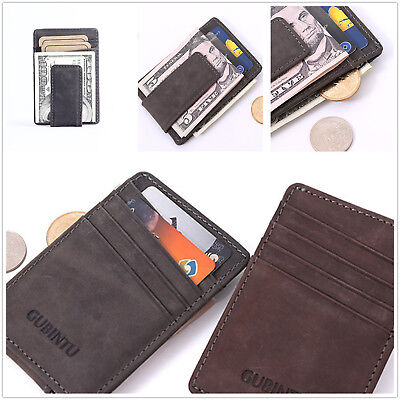 Mens Leather Money Clip Slim Front Pocket Magnetic ID Credit Card Holder Wallet
