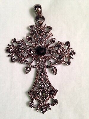 Ornate Silver Tone Filagree Crucifix / Cross with Inlayed Smoky Crystal Jewels