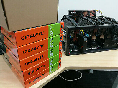 11x GPU Gigabyte GeForce GTX 1070 WINDFORCE OC 8G Mining Rig  Lots of spares.