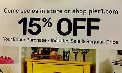 Pier 1 imports 15% Off Entire Purchase Exp 8/31/19 Valid In store and Online