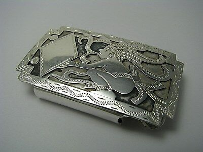 "HANDMADE STERLING SILVER BELT BUCKLE NIELLO ""Mayan Shaman"" Guatemala c1960s USED"