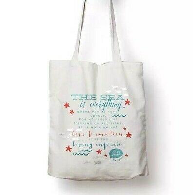 Bumgenius Jules Verne Organic Cotton Reusable Canvas Tote Bag Book Beach Grocery