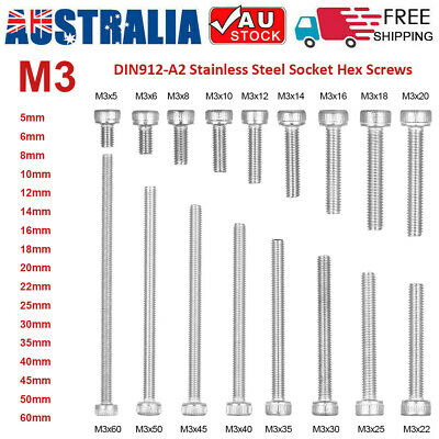 5-50Pcs M3 DIN912-A2 Stainless Steel Allen Bolt Socket Cap Screws Hex Screw AU