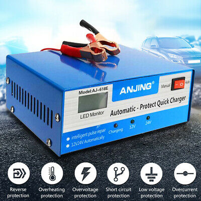 Battery Charger 12V 24V Intelligent Pulse Repair For CAR TRUCK BOAT MOTORCYCLE