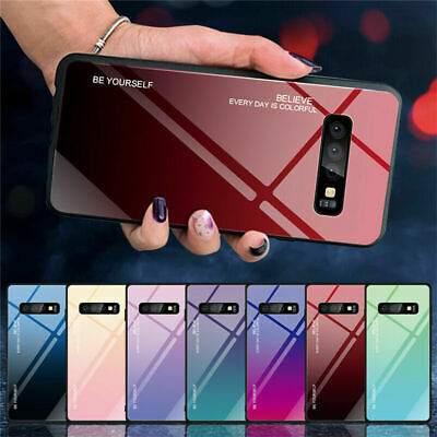 For Samsung Galaxy S10 S10E S10 Plus Gradient Tempered Glass Hard Case Cover