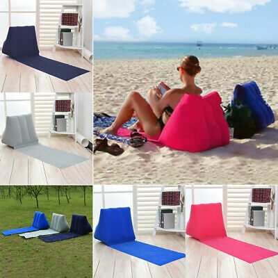 CKB Ltd Chill Out Portable Travel Inflatable Lounger With Wedge Shape Back Cushion Navy Blue Perfect For Camping And Festivals