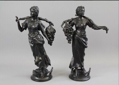 VINTAGE PAIR OF SPELTER FIGURES OF WOMEN SELLING Grapes