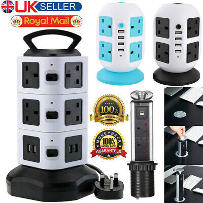 Pull Up Socket Tower Mains Power Extension Lead  Ports Adaptor Plug Long Cable