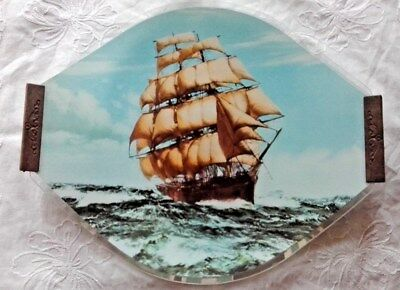 Collectable Vintage Glass SAILING SHIP Serving Tray with Wooden Handles - RETRO