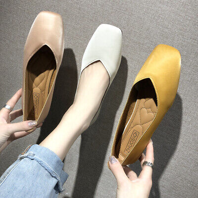 UK Womens Ladies Flats Pumps Loafers Soft Leather Comfy Office Work Casual Shoes
