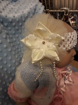 Romany Baby Girl Pretty CREAM tulle PEARL LACY   butterfly party headband