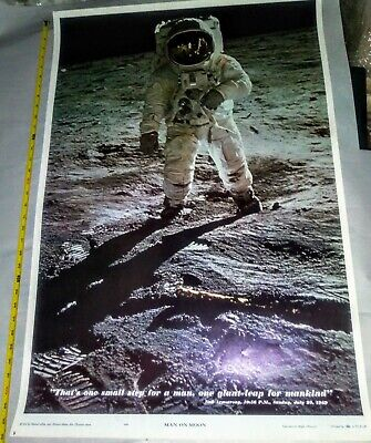 1969 Vintage Apollo 11 Man on the Moon Poster w/Neil Armstrong Buzz Aldrin MINT!