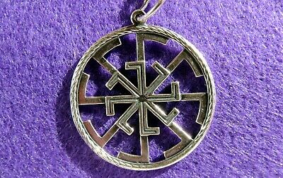 "Ancient Slavs-Scythian Silver 925 ""Kolovrat"" powerful solar symbol Amulet #1"