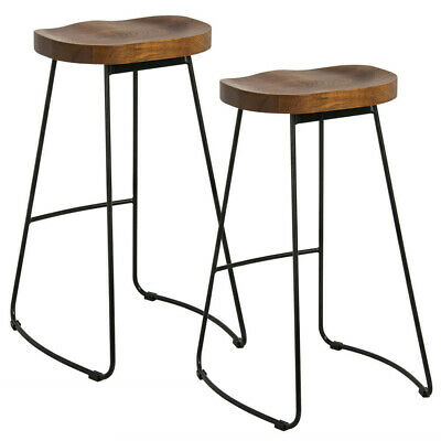 Pair Counter Stool Industrial Vintage Rustic Designer Bar Dining Chair Backless