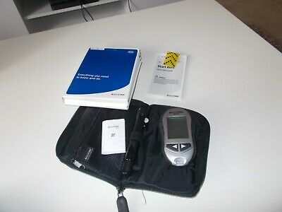 Accu Chek Diabetic Kit Black Bag Case with Aviva Glucose Meter and FastClix